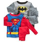 Superhero Kids Pajamas, Toddler Boys Batman and Superman 4-Piece Cotton PJs