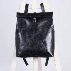 Grafiet grijs Lederen rugzak rolltop rugzak / te bestellen