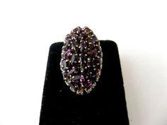 Vintage Purple Austrian Crystal Ring by ediesbest on Etsy, $18.95