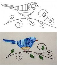 Free embroidery pattern: Bluebird