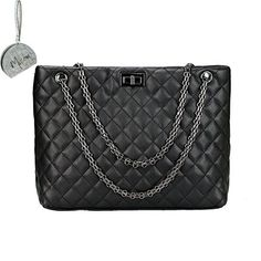 Micom 2016 Quilted Metal Chain Strap Tote Shoulder Handbag Bags for Women with Micom Zip Pouch (Black) * Details can be found by clicking on the image.