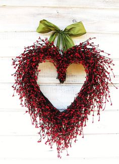 Say I LOVE YOU- Valentine Heart Wreath-Winter Wreath-Holiday Door Decor-Wedding Wreath- Scented Cinnamon or Custom Choose Ribbon and Scent. $59.00, via Etsy.