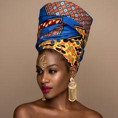 Stylish, Chic, and Classy Ankara Headwraps - Wedding Digest Naija - Head Wraps Black Women Art, Beautiful Black Women, Black Girls, African Beauty, African Women, African Fashion, African Style, Hippie Goddess, Ankara Mode