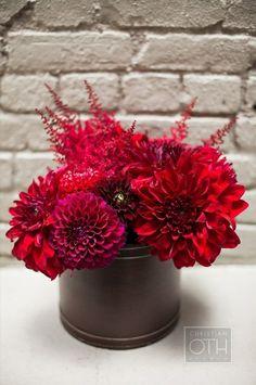 Beautiful Centerpiece Of: Red Astilbe, Red Dahlias + Red-Violet Dahlias Dahlia Centerpiece, Floral Centerpieces, Flower Arrangements, Victoria Grayson, Wedding Stuff, Wedding Ideas, Astilbe, Party Fun, Dahlias