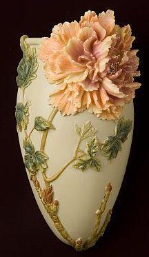 Chinese Peony Wall Vase /Wall Pocket