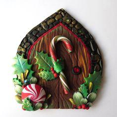Candy Cane Elf Door Pixie Portal Miniature Fairy Door by Claybykim