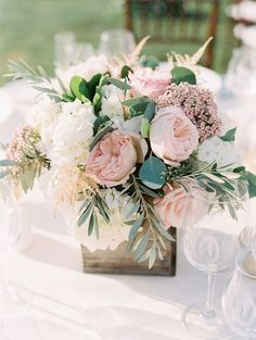 blush and greenery wedding centerpiece wedding centerpieces 20 Blush Wedding Centerpiece We Love Blush Wedding Centerpieces, Blush Centerpiece, Pink Flower Centerpieces, Rustic Flower Arrangements, Table Arrangements, Vintage Centerpieces, Flowers Vase, Square Vase Centerpieces, Diy Flowers