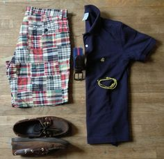 OOTD: Madras Shorts - J.Crew Polo - Brooks Brothers Belt - J. Press Boat Shoes - Sperry Topsiders Bracelet - The Tweed Fox