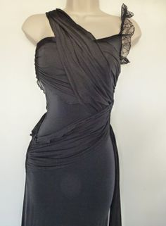 Grecian Goddess Body Con Black Maxi Dress // Vintage Sz S Designer Black Gown // CALIFORNIAseabreeze Shop on Etsy