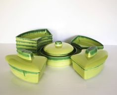 California Pottery, Duotone Verde, Lazy Susan set by KleinDesignVintage on Etsy