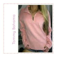 "TOMMY BAHAMA REVERSIBLE PEACH/HEATHER 1/2 ZIP TOMMY BAHAMA HALF ZIP Colors.               Peach & Heather Arm Length.    19"" Pit to Pit.           18"" Material is soft and is Cotton and Elastane of some sort. Half zip with no Pockets Some Stretch Tommy Bahama Tops Sweatshirts & Hoodies"