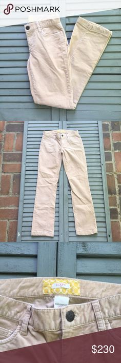 """J. Crew Matchstick Tan Corduroy Pants Made from a cotton and spandex blend, these classic Skinny matchstick pants by J. Crew are a perennial classic. The soft vertical corduroy fabric is flattering and dressy. In great condition. Approximate measurements lying flat: top 14.5"""", length 30"""" 20094 J. Crew Factory Pants Skinny"""
