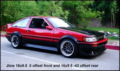 Here's a nice resource pic. Incase you weren't sure what JLine wheels you should get or how they'd fit. Corolla Ae86, Toyota Corolla, Toyota Celica, Tuner Cars, Jdm Cars, Classic Japanese Cars, Go Car, Cars Usa, Toyota Cars