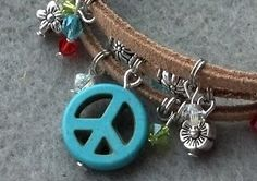 Peace Sign and Crystal Cuff. Starting at $1 on Tophatter.com!