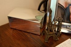 My bedroom. My blue and brown bedroom color scheme. Mini Eiffel Tower and Seattle Space Needle. Brown Bedroom Colors, Bedroom Color Schemes, Aqua, Teal, Travel Souvenirs, Home Decor Inspiration, My Dream, Aurora, Traveling By Yourself