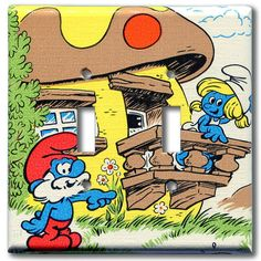 Papa Smurf & Smurfette Double Switch Plate 1981 Vintage by Fondue,