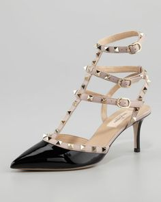Rockstud Patent Leather Sandal by Valentino at Neiman Marcus.