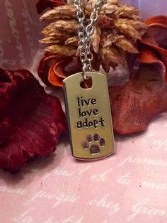 """Rectangular Dog Tag Style  """"Live Love Adopt"""" Silver Necklace Pendant"""