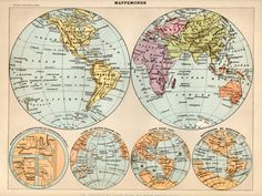 World Map Antique Print 1897 Lithograph Atlas Map by Craftissimo, €14.95