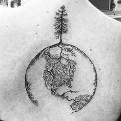 tree globe tattoo by @meagma  #relegationtattoo #nanaimo #vancouverisland #treetattoo #globetattoo #traveltattoo #tattoosbymeag