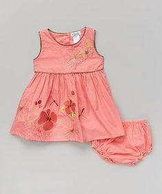 Loving this Coral Dragonfly Dress & Diaper Cover - Infant on #zulily! #zulilyfinds
