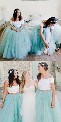 Fashion Long Two Pieces Blue Tulle Bridesmaid Dress,Formal Evening Dresses,WGY0217