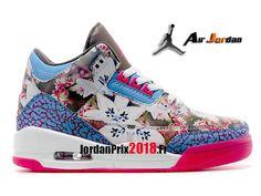 detailed look 7d6fc 7c086 Chaussure Basket Jordan Prix Pour Femme Air Jordan 3 Retro GS Bleu Rose-Nike  Jordan