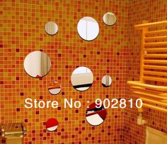 [listed in stock]-Acrylic 9 pcs/lot round Mirror wall Sticker 3d three-dimensional living room background Home decoration