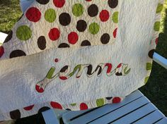 SALE: Personalized Baby Quilt   Name Appliqué -Your Choice Fabric. $84.15, via Etsy.