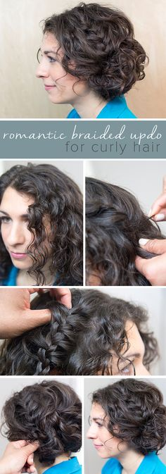This romantic braided updo is super easy and perfect for curly hair. A few braids, twists and bobby pins are all you need to get this look.