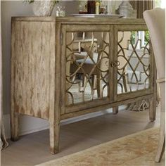 Sanctuary Two Door Mirrored Console by Hooker Furniture at Belfort Furniture