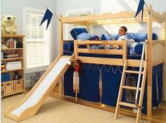 diy loft bed love the slide, GG would love that!
