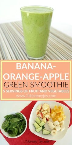 This green smoothie recipe is filled with 5 servings of fruits and vegetables. A… This green smoothie recipe is filled with 5 servings of fruits and vegetables. A healthy smoothie with apple, banana, orange, cucumber and spinach to boost your immunity. Smoothie Legume, Spinach Smoothie Recipes, Smoothie Fruit, Cucumber Smoothie, Vegetable Smoothies, Banana Recipes, Smoothie Drinks, Smoothie Cleanse, Spinach Banana Smoothie