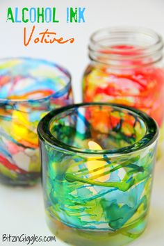 Alcohol Ink Votives - alcohol ink turns these normal glass votive holders into something extraordinary! Anticipate lots of oohs and ahhs!