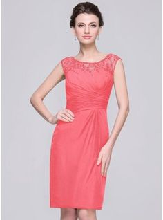 Sheath/Column Scoop Neck Knee-Length Chiffon Mother of the Bride Dress With Ruffle Lace Beading Sequins (008056833) - JJsHouse