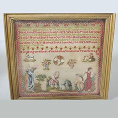 A 19th Century ENGLISH Sampler Stitched By Mary Margaret Scott & Dated 1864