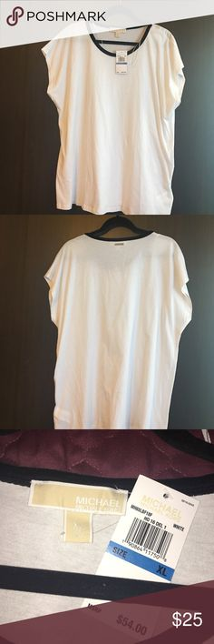 Michael Kors Top NWT Gorgeous NWT Michael Kors white top. Super soft shirt with velvet black crew collar outline. Has Michael Kors metal logo on back. Perfect for causal, work or any occasion really! Michael Kors Tops Blouses