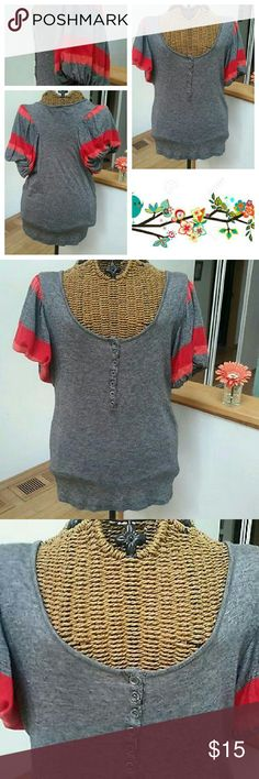 "2for20 French Connection cute top S FRENCH CONNECTION shirt  Really cute  Sz S Striped puffy sleeves  Grey with orange stripes  Henley front button style  Viscose wool  Underarm to underarm 17.5"" unstretched  Top of shoulder to hem 26""  Excellent condition Urban Outfitters Tops Tees - Short Sleeve"