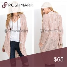 "P R E - O R D E R  Coming🔜 ✨Have I mentioned how much I LOVE 😍 fall. This loose cable knit cardigan... Is going to be the perfect transitional piece to take you from these warmer days to the cool weather in fall!  PRE-ORDER THIS AMAZING COLOR PINK, and or BLACK NOW. Grey is available to ship now ONLY 1 M/L left.   Note: 💕 S/M about 28"" Pit to Pit 41"" length   Material - Polyester & Acrylic Desired Collection Sweaters Cardigans"