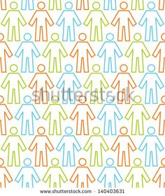Seamless pattern with linear icons of people figure. White background with color silhouettes of persons. Simple abstract ornamental geometric illustration. Concept of  humanity, multicultural society - stock photo