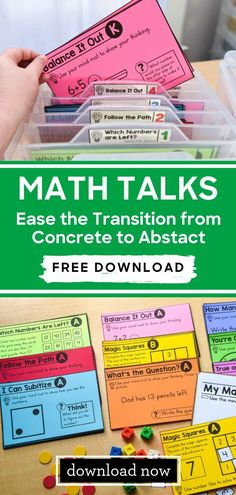Number talks are the perfect way to get your students' math minds moving from the concrete to the abstract. I like to think about number talks as the bridge between the two points. Math Classroom, Kindergarten Math, Teaching Math, Number Talks Kindergarten, Elementary Math, Teaching Reading, Teaching Cursive, Math Teacher, Sight Words