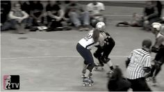 Getting your inside leg around the blocker trying to push you out is one of the best ways to keep your balance on the outside line....Good example of using your leg to get around someone... // Roller Derby