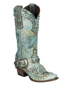 Love this Waxed Turquoise Your Harness Leather Cowboy Boot on #zulily! #zulilyfinds