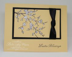 Stampin' Up! ... handmade Easter card from Stamp Pad Creations ... luv the layout ... small matted focal panel ... ribbon wrap with knot in center ... flowering cherry tree branch ... like it!