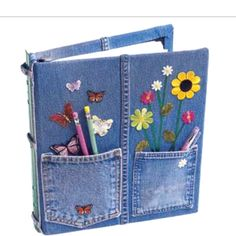 Recycled jeans on binder this is cool