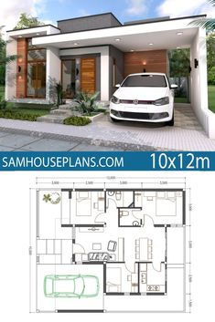 Home Plan 3 Bedrooms - Sam House PlansYou can find Home plans and more on our website.Home Plan 3 Bedrooms - Sam House Plans Simple House Plans, Simple House Design, Minimalist House Design, New House Plans, Modern House Design, House Floor Plans, Home Plans, Small Contemporary House Plans, Tiny Home Floor Plans