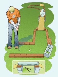 With this simple project, you'll be outside playing miniature golf in no time. Build your course with any available combination of bricks, wood, aluminum siding, whatever works. The game is best played with a croquet set, because the balls are larger and easier to control, but golf equipment is fine, too, especially for advanced players.