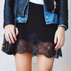 leather lace denim