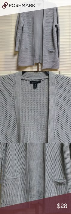 """Lands' End Lofty Textured Open Cardigan Sweater Lands' End lofty textured open cardigan sweater in women's size XL. Features an easy, open drape style, front welt pockets, texture stitch, ribbed trim on cuffs, hem, placket and pockets, and long sleeves. Cotton blend. Chest measures 24"""" from underarm to underarm, length measures 32"""" from neck to hem. This sweater is in like new condition, free from stains and flaws. Check my closet and bundle for additional savings! No trades or outside Posh…"""