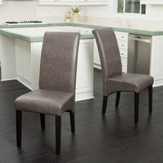 Morrow Charcoal Leather Dining Chairs (Set of 2)